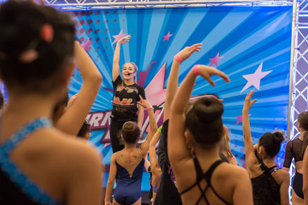 Students taking classes at a Turn It Up Nationals Dance Competition